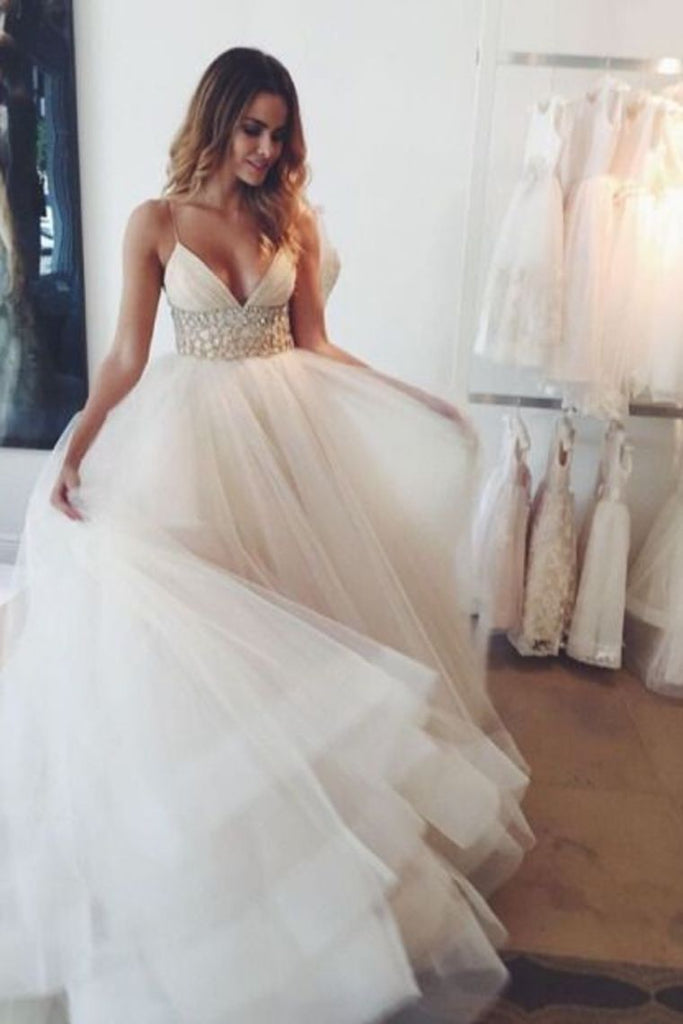 2019 Tulle Wedding Dresses Spaghetti Straps A Line With Beaded