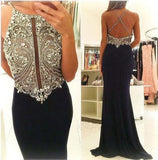 Halter Beading Mermaid Sexy Real Made Criss Cross Scoop Sleeveless Prom Dresses