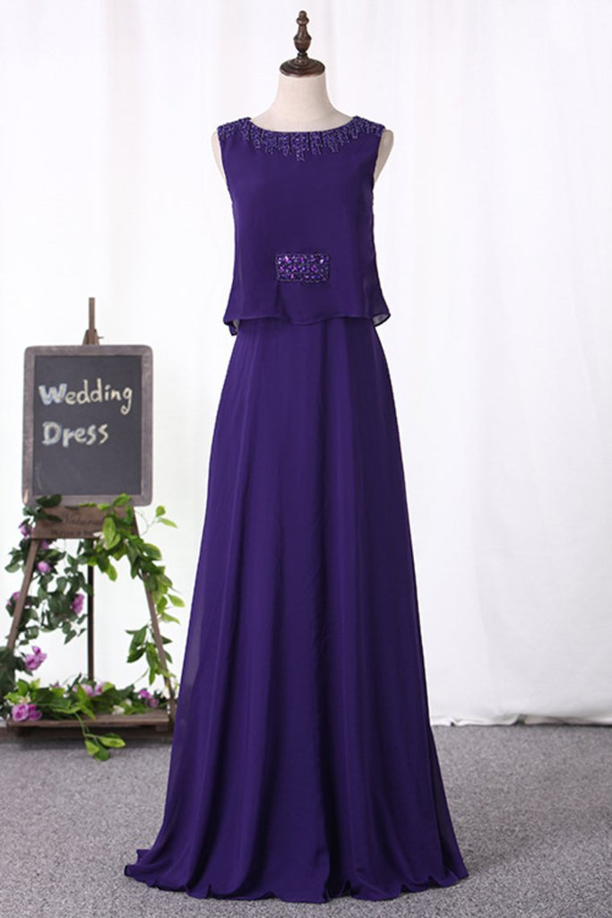 2019 A Line Scoop Prom Dresses Chiffon With Beading Floor