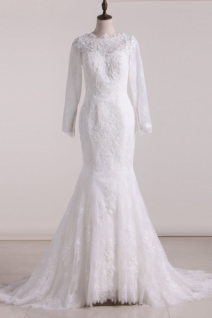 2019 Wedding Dresses Scoop Long Sleeves Open Back Lace With