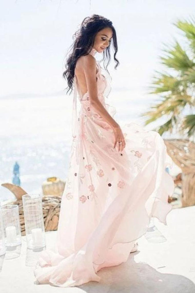 Halter Backless Chiffon Beach Wedding Dresses With Appliques STBPR1EZ5X1