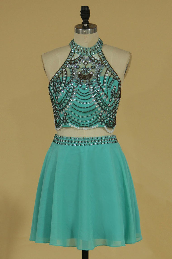 2019 Two-Piece Halter Beaded Bodice Homecoming Dresses A Line