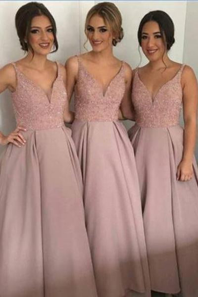 Dusty Rose Long Sleeveless A-line V-neck Open Back Beading Bridesmaid Dress