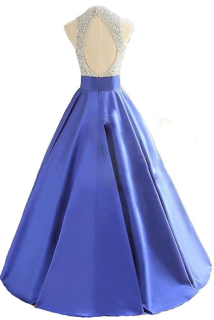 2019 Open Back Scoop Beaded Bodice Prom Dresses A Line