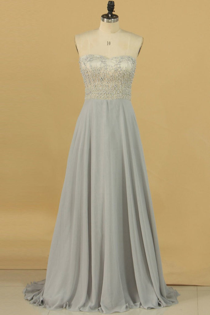 2019 A Line Sweetheart Chiffon With Beading Prom Dresses