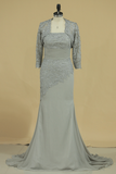 3/4 Length Sleeve Mother Of The Bride Dresses Strapless With Applique Sweep Train