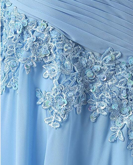 Fashion A-line Scoop Sweep Train Appliques Chiffon Sleeveless Light Blue Prom Dresses