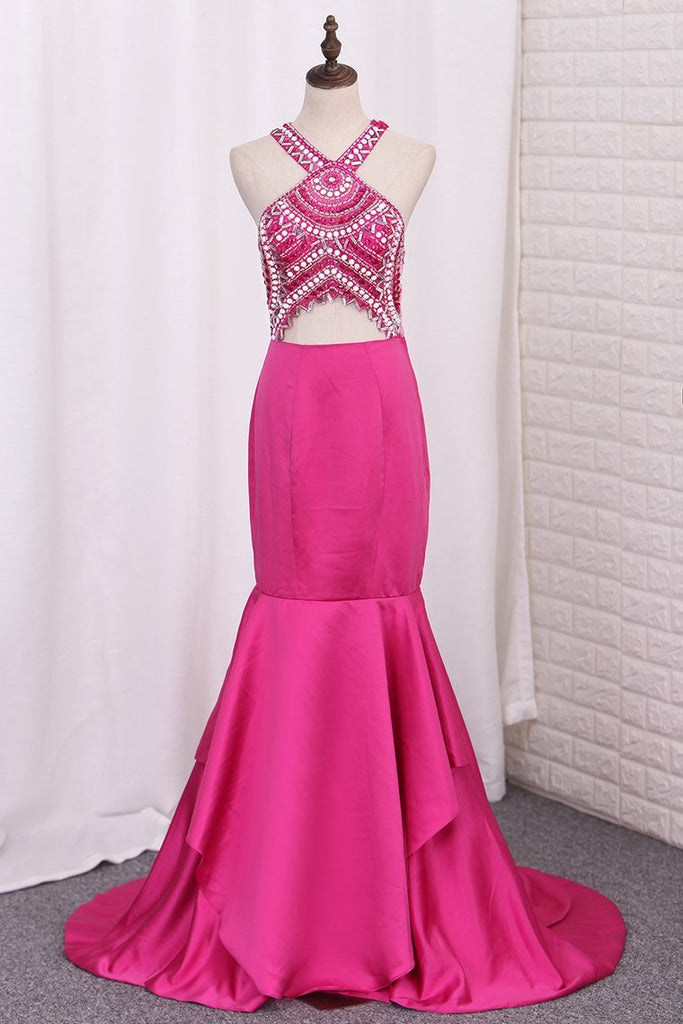 2019 Prom Dresses Mermaid V Neck Beaded Bodice Satin