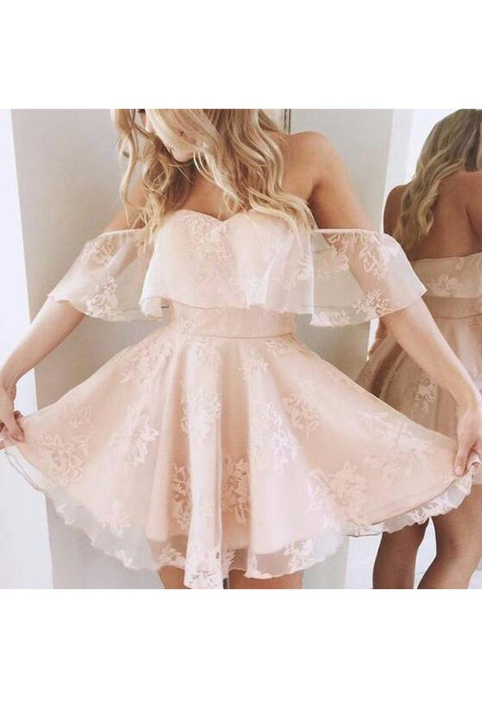 2019 Off The Shoulder A Line Homecoming Dresses Lace