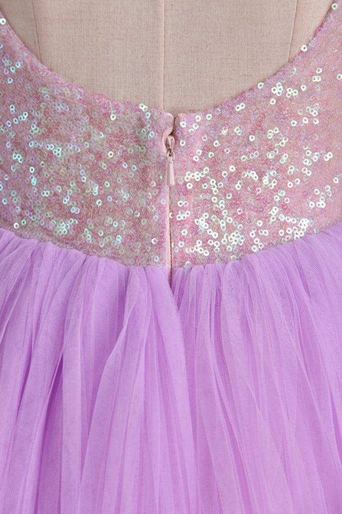 2019 Homecoming Dresses Open Back Scoop Sequined Bodice Tulle Short/Mini