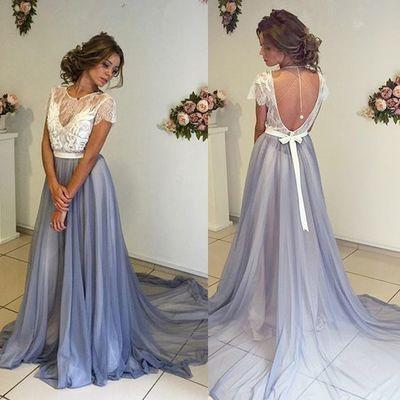 Pd61129 Charming Chiffon Short Sleeves Scoop A-Line Blue Backless Evening