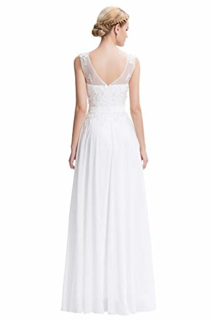 Lace Chiffon Round Neck A Line Wedding Bridesmaid Long Evening Festive Party
