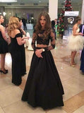 Elegant Two Piece A-line Lace Long Sleeves Black Prom Dresses