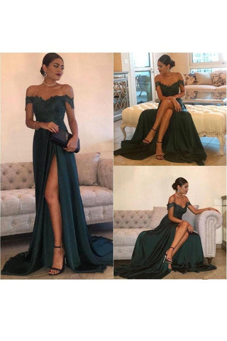 A Line Off The Shoulder Prom Dresses Stretch Satin With Applique And