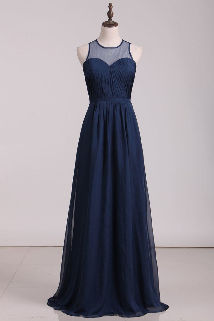2019 Prom Dresses Scoop Chiffon With Ruffles A Line Dark Navy Floor Length