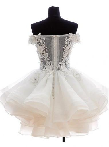 Cute A-line Off-the-shoulder White Mini Homecoming Prom Dress