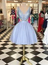 Dramatic V-neck Sleeveless Short Lavender Ball Gown Homecoming Dress Beaded