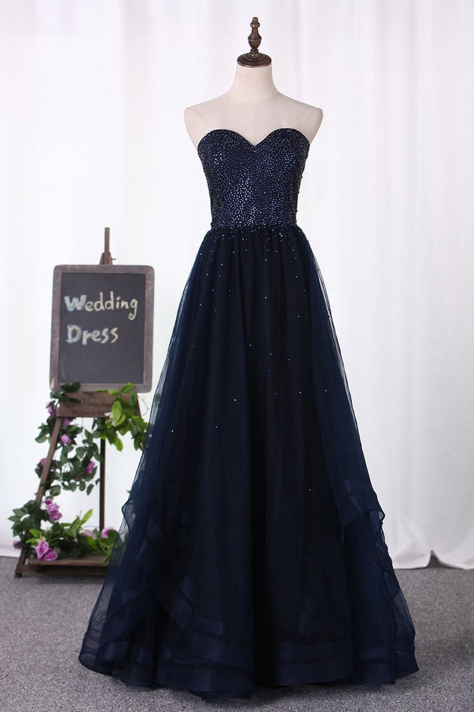 2019 A Line Sweetheart Beaded Bodice Tulle Floor Length Prom