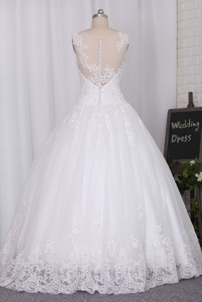 2019 Wedding Dresses Scoop A Line With Beads And