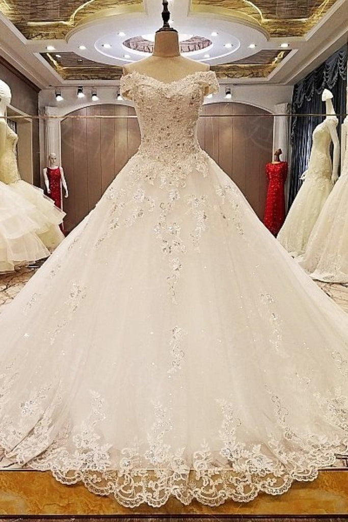 2019 New Arrival Wedding Dresses Off The Shoulder A-Line With Bow Knot And