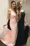 Mermaid Off the Shoulder Sweep Train Sweetheart Pink Prom Dresses with Appliques