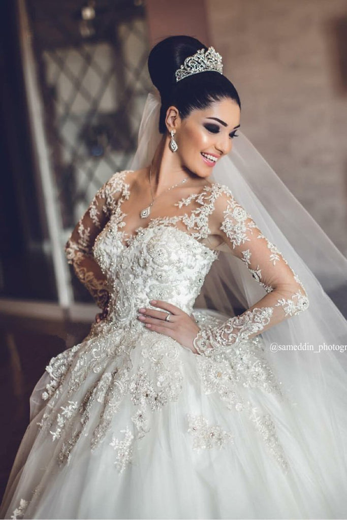 Wedding Dresses Scoop Long Sleeves A Line Tulle With Applique And