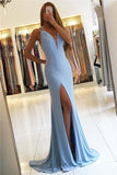 Gorgeous Sleeveless Mermaid V-Neck Backless Floor-Length Slit Long Prom Dresses