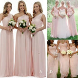 Long Light Pink Mismatched A-Line One Shoulder Sleeveless Elegant Bridesmaid Dresses