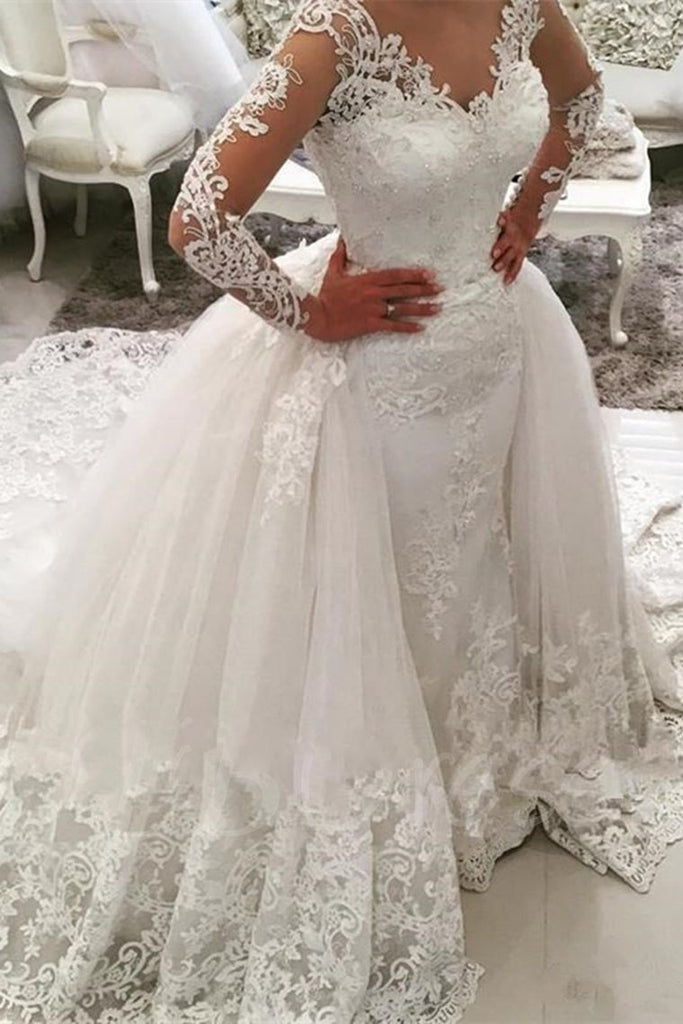 2019 Wedding Dresses V Neck Sheath With Applique Long Sleeves Detachable