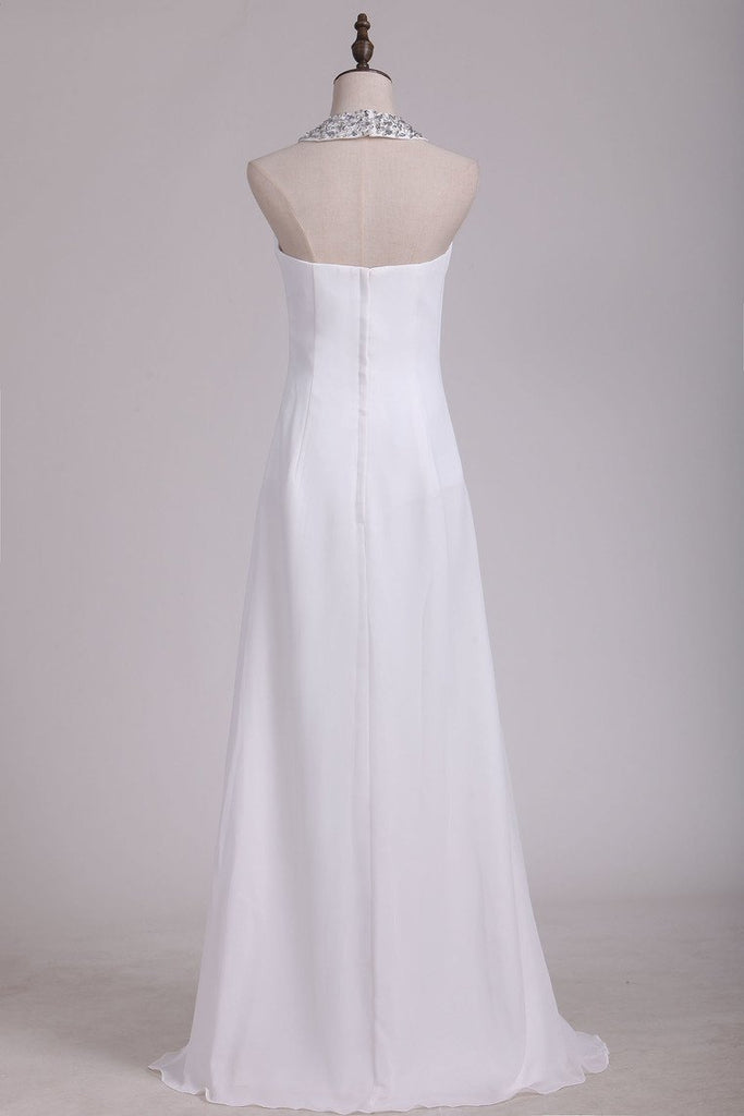 2019 White Halter Bridesmaid Dresses With Beading Floor Length