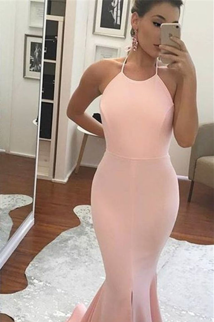 2019 New Arrival Sexy Open Back Halter Spandex Prom Dresses Mermaid Zipper