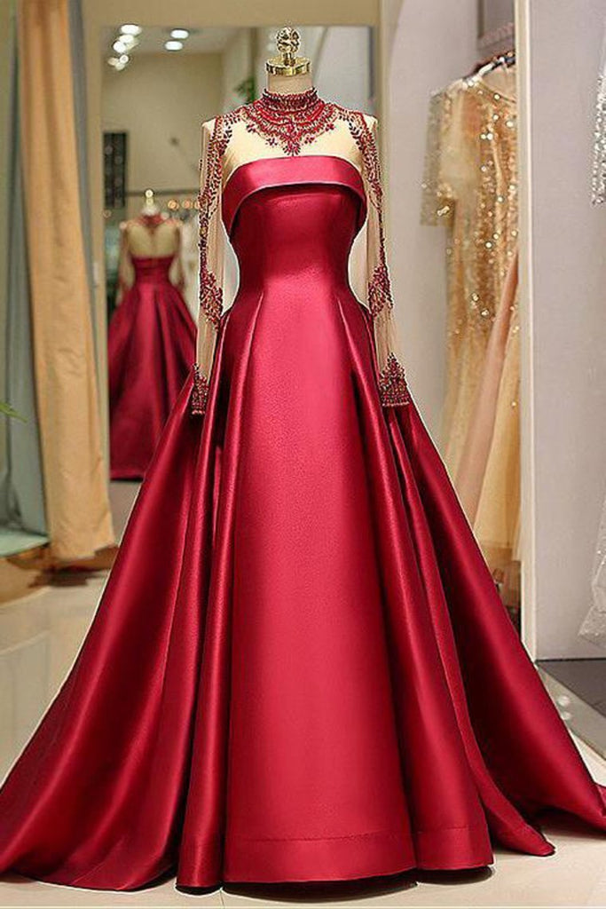 2019 Long Sleeve Prom Dresses High Neck Burgundy Long Prom Dress Satin Evening