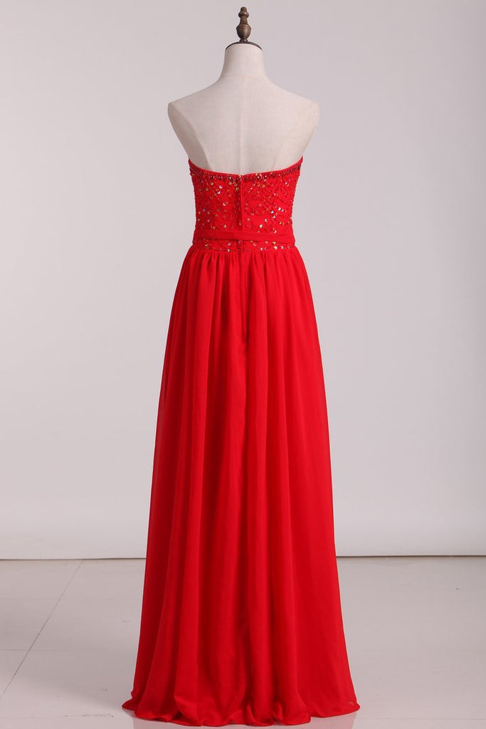 A Line Sweetheart Beaded Bodice Bridesmaid Dresses Chiffon Floor Length