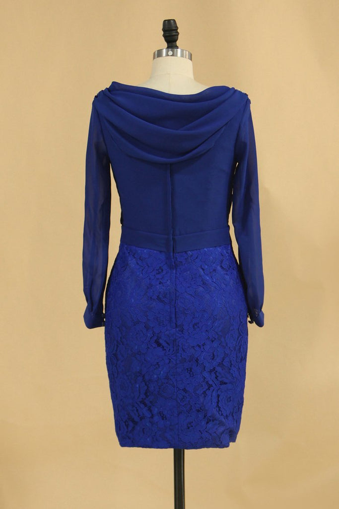 2019 Lace & Chiffon Cowl Neck Mother Of The Bride Dresses Long Sleeves