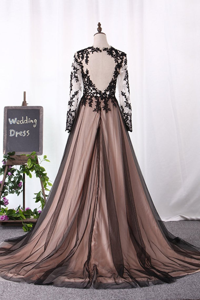 2019 Scoop Long Sleeves A Line Evening Dresses Tulle With Applique