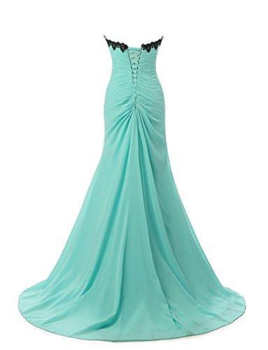 Chiffon Appliques Beaded Evening Dress Mermaid Long Prom Gowns