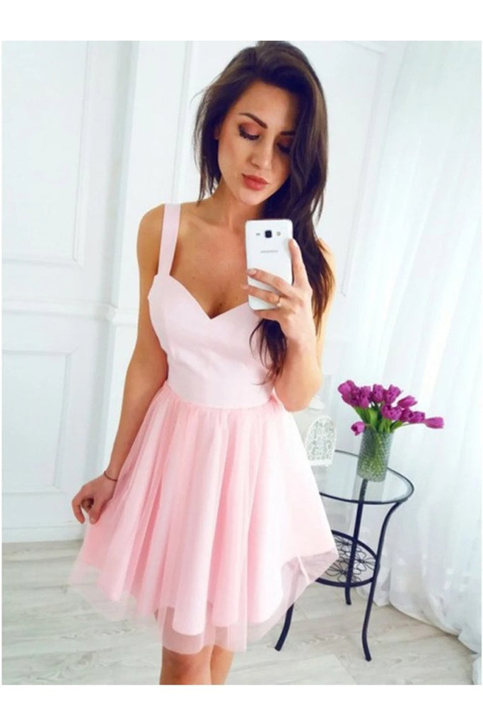 A Line V Neck Short Homecoming Graduation Dresses Straps
