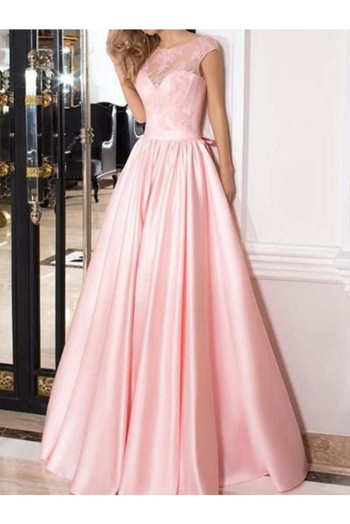 A-Line/Princess Sleeveless Sheer Neck Floor-Length Lace Satin