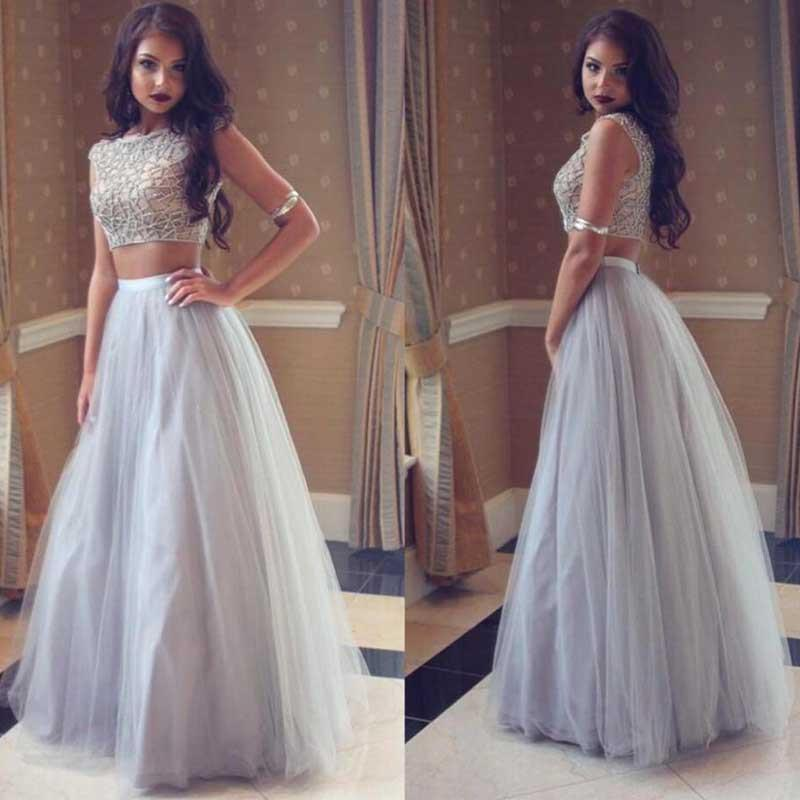 Grey Two Pieces Simple Tulle Long Scoop Sleeveless A-line Beading Evening Dresses