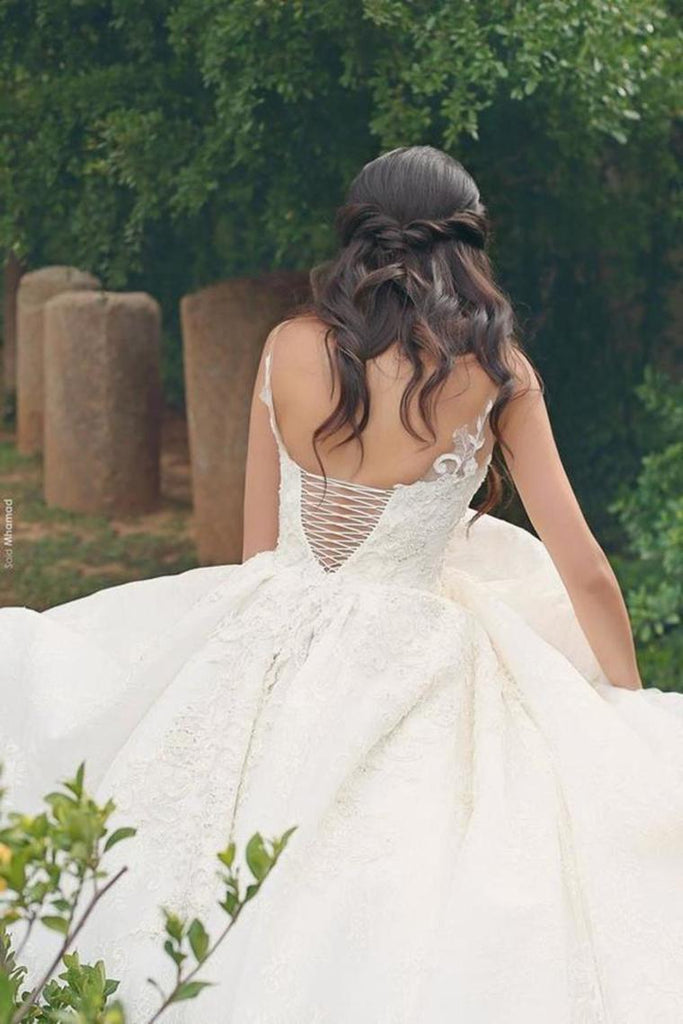 A Line Straps Wedding Dresses Tulle With Applique Lace Up