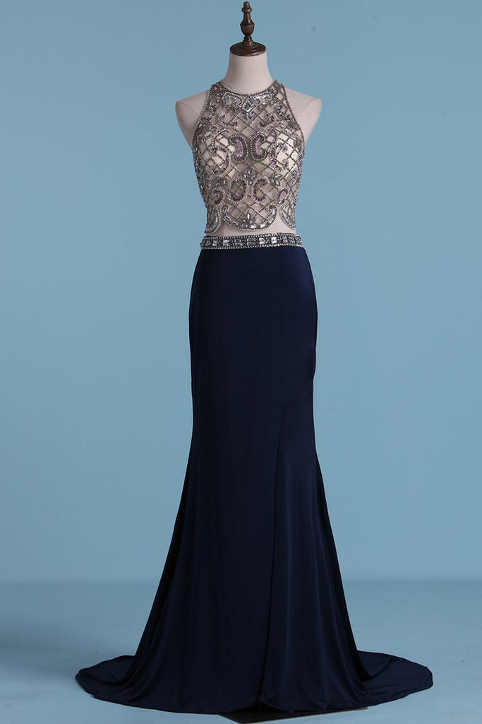 2019 Two Pieces Prom Dresses Sheath With Beading And Slit Sweep