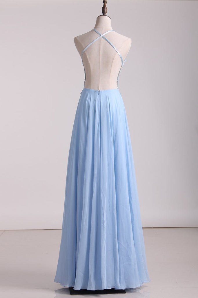2019 Open Back A Line Prom Dresses Chiffon With Applique And Beads
