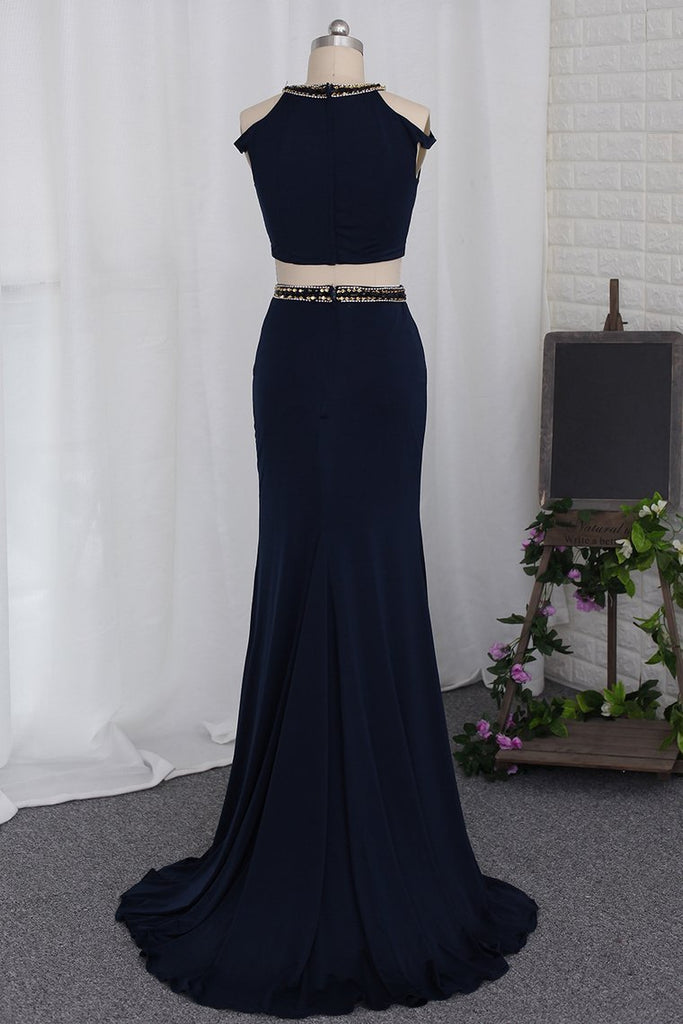 2019 Two-Piece Scoop Prom Dresses Mermaid Spandex With Beads And