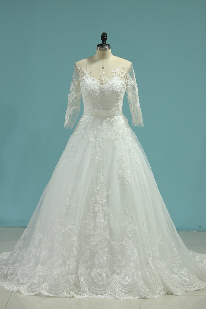 2019 Scoop A Line Wedding Dresses Tulle With