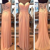 Lace See Through Blush Pink Sweetheart Strapless Open Back A-Line Long Prom Dresses