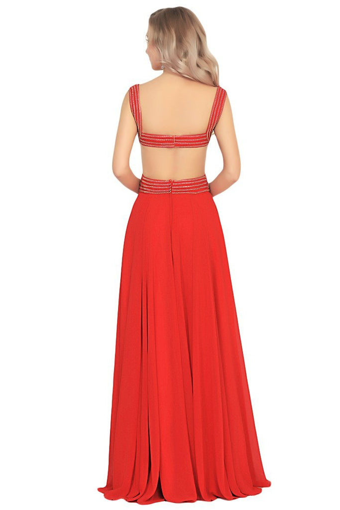2019 Chiffon Straps Beaded Bodice A Line Open Back Sweep Train Prom