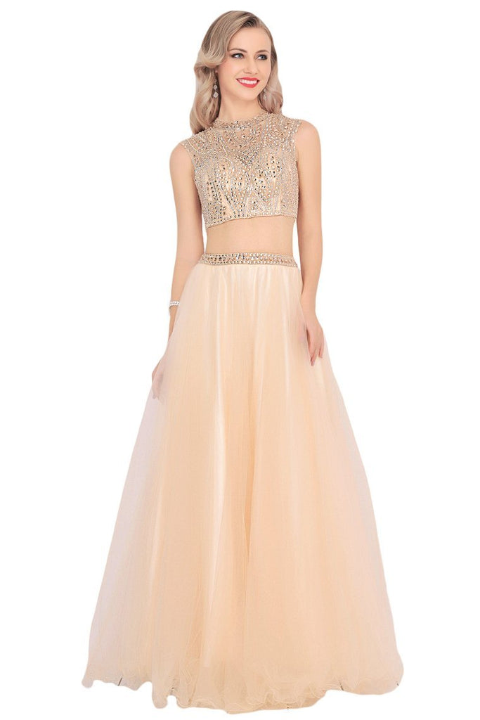 2019 Tulle Scoop Beaded Bodice Mermaid Prom Dresses