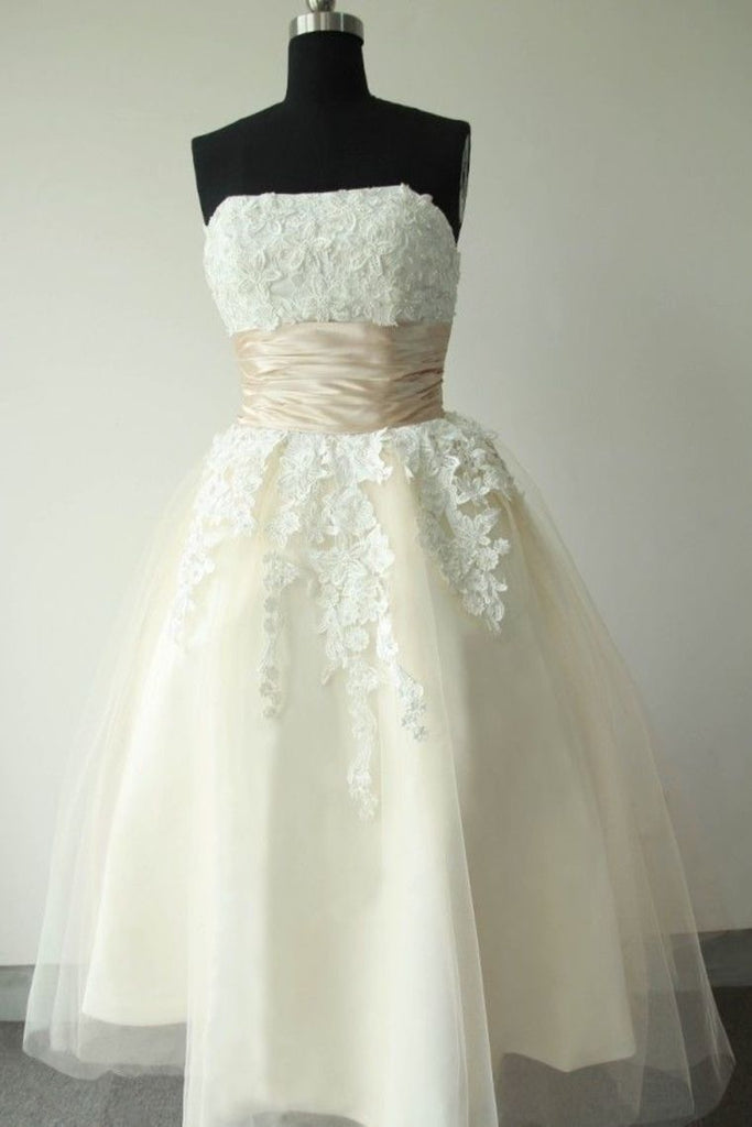 Champagne Ankle Length Strapless Wedding Dresses