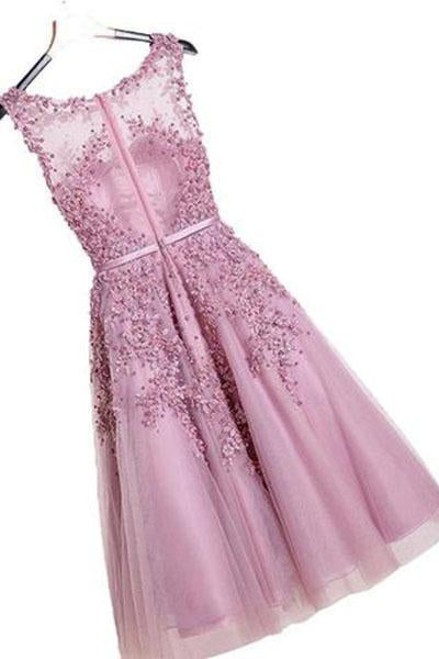 Floral Lace Applique Sheer Sweetheart Illusion Short A-Line Tulle Homecoming Dresses