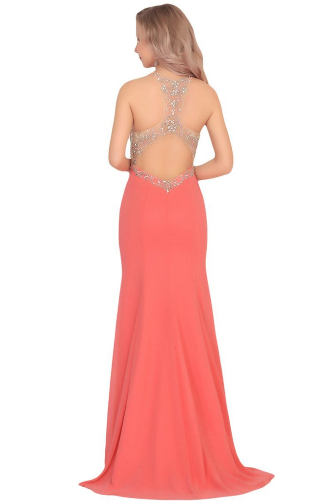 2019 Mermaid Scoop Chiffon Prom Dresses With Beads And